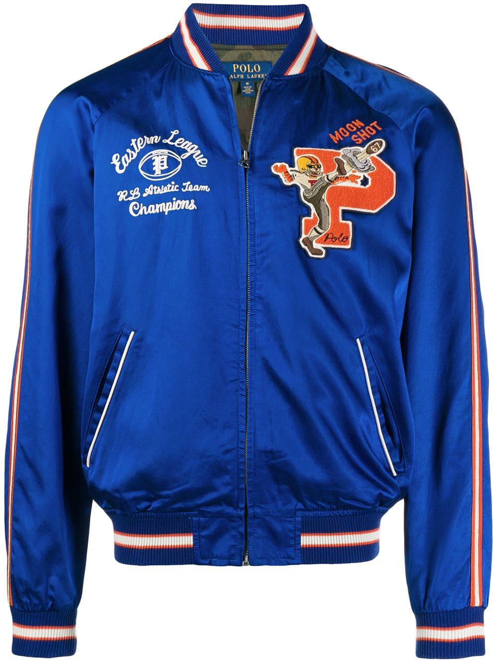 Polo Ralph Lauren Letterman Bomber Jacket In Blue Modesens Bomber Jacket Polo Ralph Lauren Ralph Lauren Store [ 1334 x 1000 Pixel ]