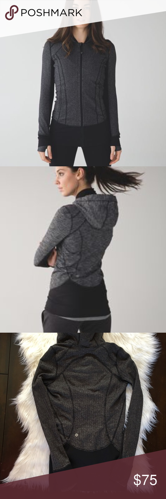 Lululemon Everyday Practice Jacket Heathered black herribone jacket. Excellent condition, no flaws. No pilling, pull tag still attached. Worn very very little. I just wear a size 4 in lulu and this was too tight  😩 lululemon athletica Tops Sweatshirts & Hoodies