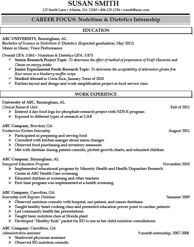 Registered Dietitian Resume Sample -   jobresumesample/875 - career focus on resume