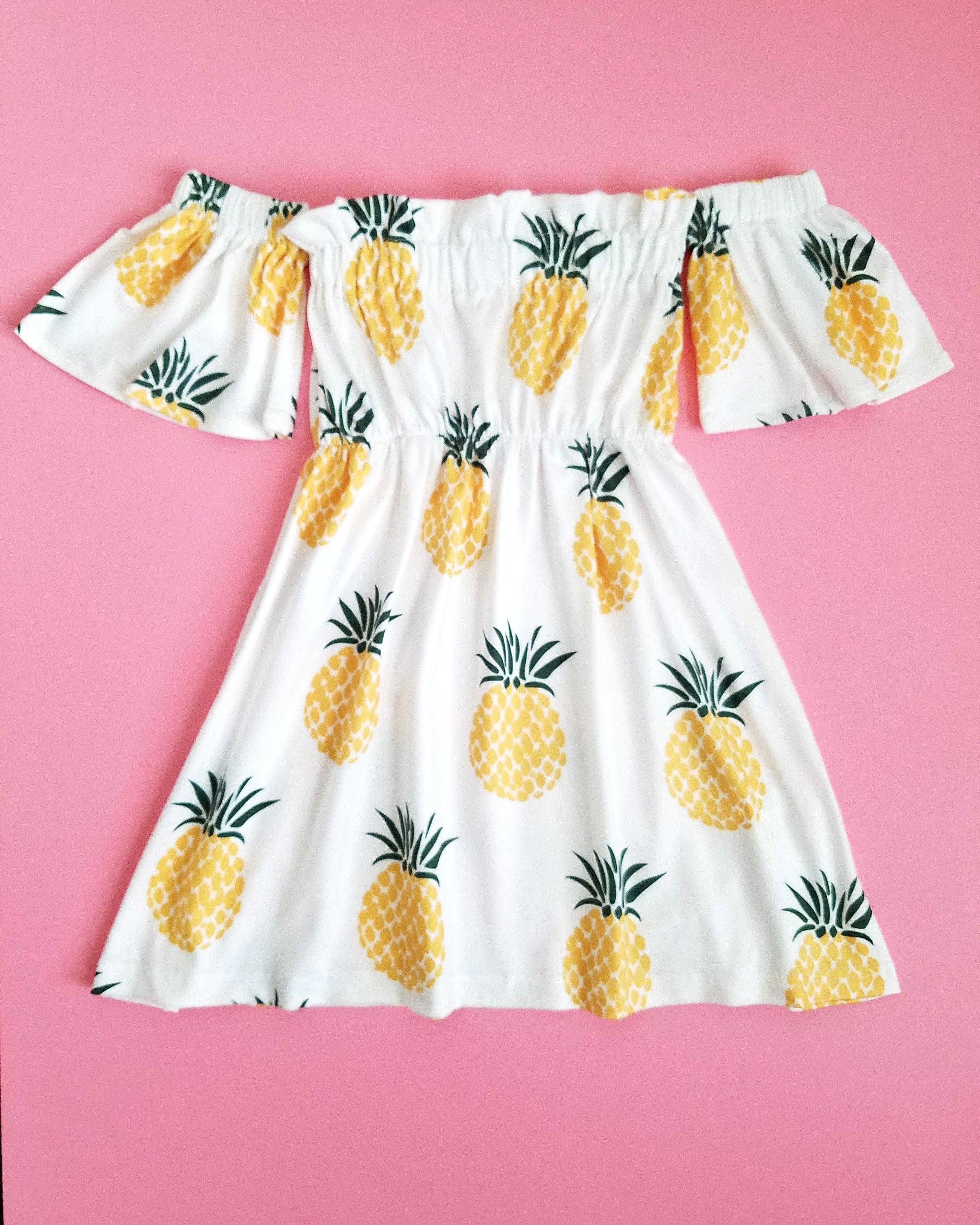 6c12b3395 Pineapple Cold Shoulder Dress Girls