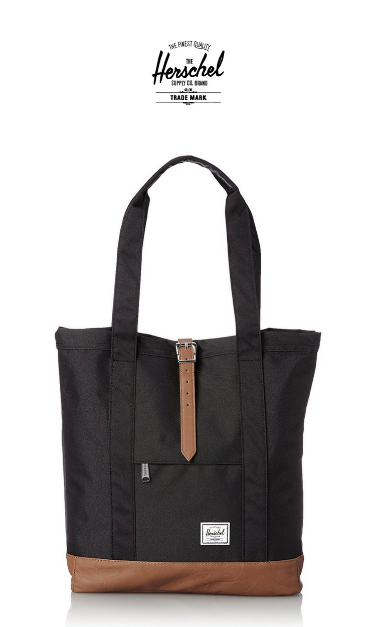 369932130d6 Herschel Supply Co. Market Tote   Black Tan Leather   Click for More Herschel  Tote Bags!