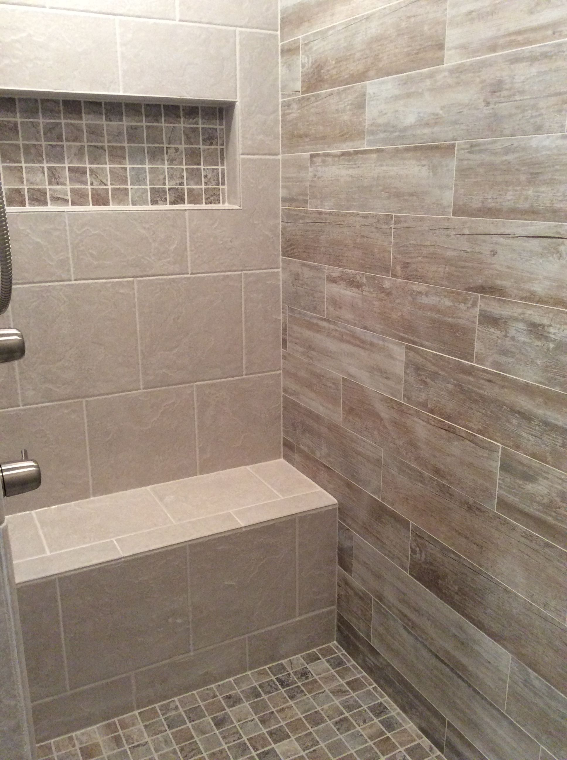Walk In Shower With Grey And Beige Toned Tiles Beige Bathroom Gray Bathroom Decor Master Bathroom Shower