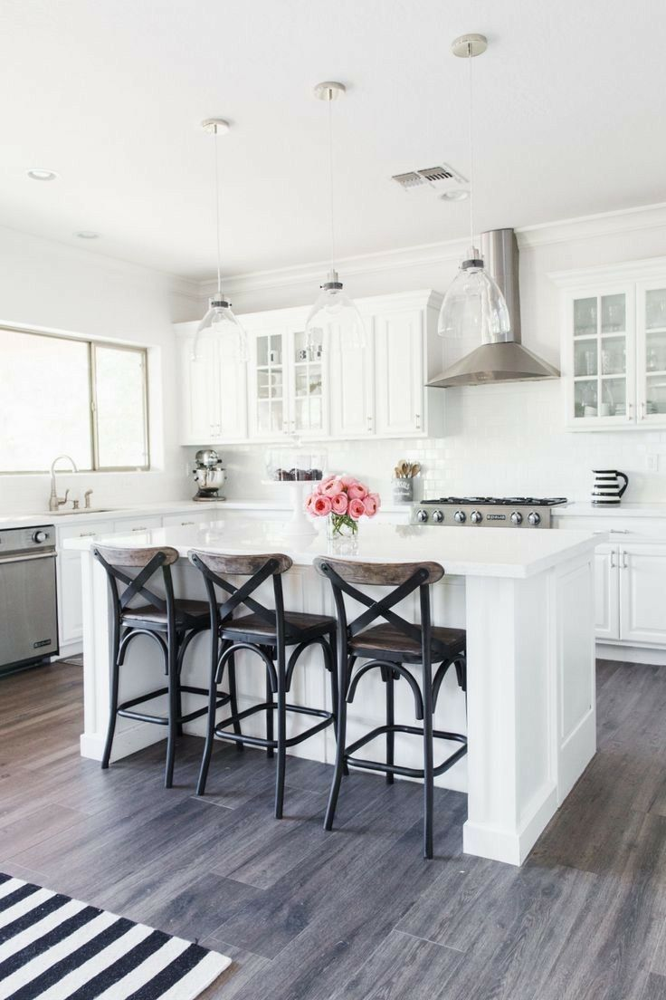 White Cabinets Shown With Weathered Gray Floors Similar To Ours