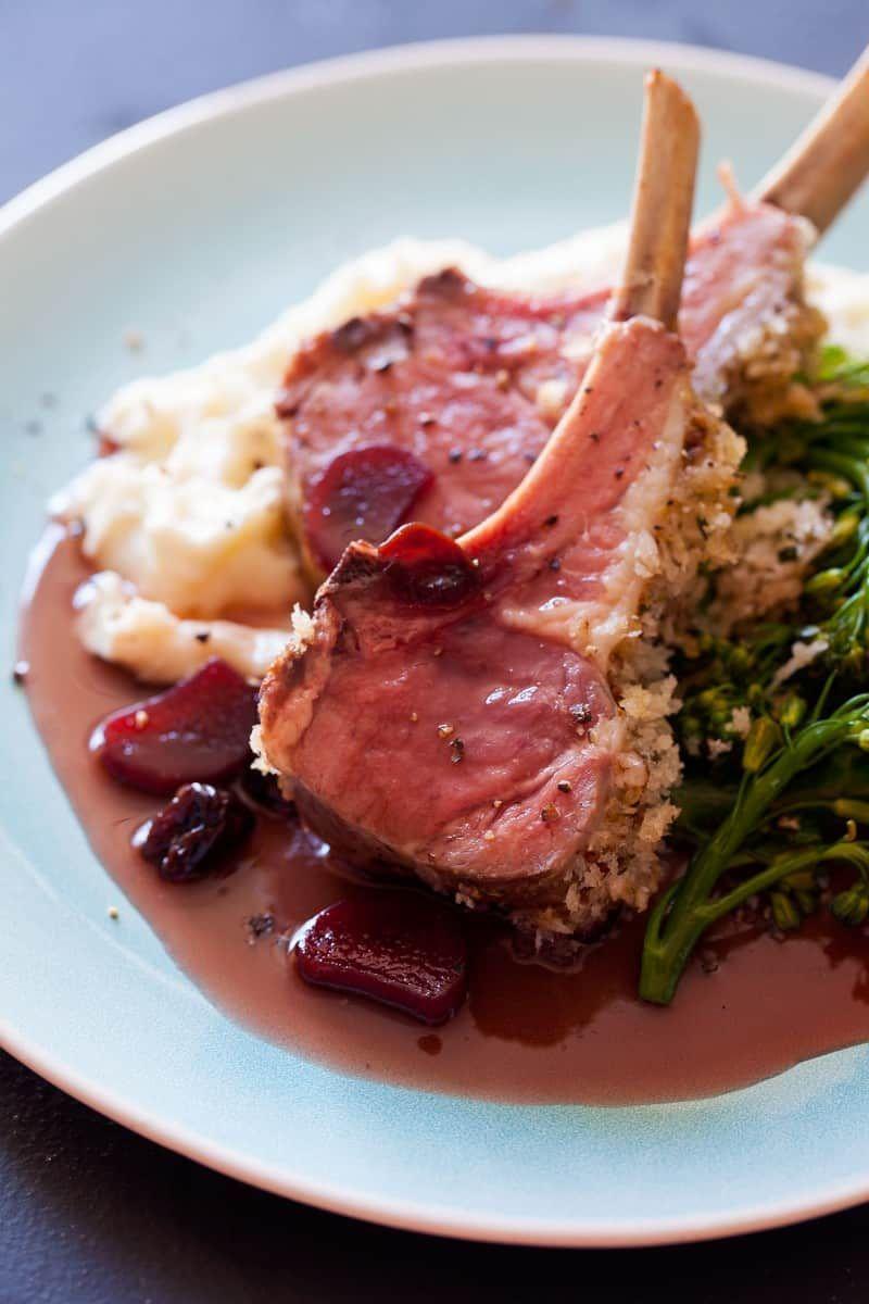 Roasted Rack Of Lamb Rhubarb Sour Cherry Gastrique Recipe In 2020 Lamb Dinner Roast Rack Of Lamb Lamb Recipes