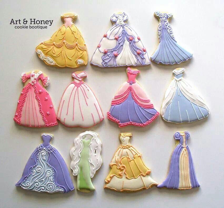 Disney princess dress cookies backen kekse kekse disney kekse und pl tzchen - Kekse dekorieren ...