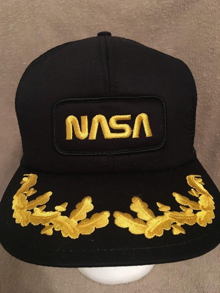 fd155934467 NASA Vintage Black Trucker Hat Gold Leaf