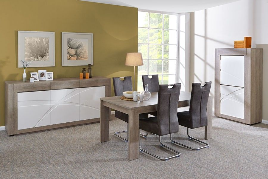 Salle à manger complète moderne couleur chêne gris et blanc laqué ...