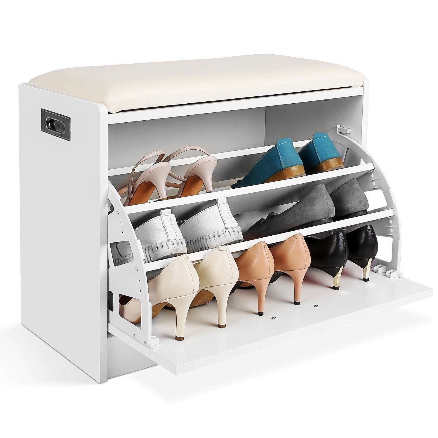 Details About Shoe Cabinet Pu Seat Storage Closet Wooden Rack