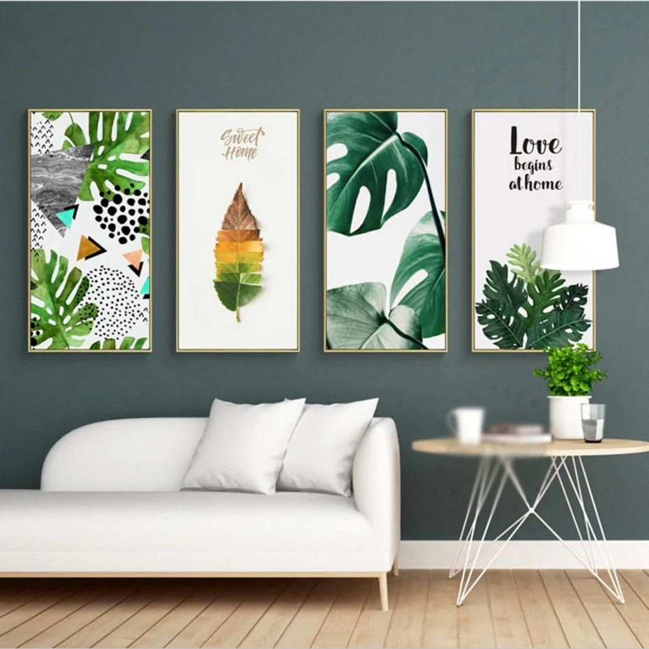 Nordic Tropical Wall Art Green Leaves Colorful Simple Abstract