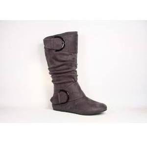 Top Moda Data-80 Women's Stylish Flat Heel Zipper Buckle Slouchy Knee High Shoes Boots