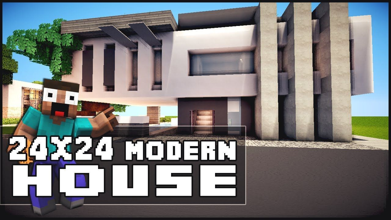 Modern Architecture House Minecraft minecraft house tutorial: 24x24 modern house | minecraft