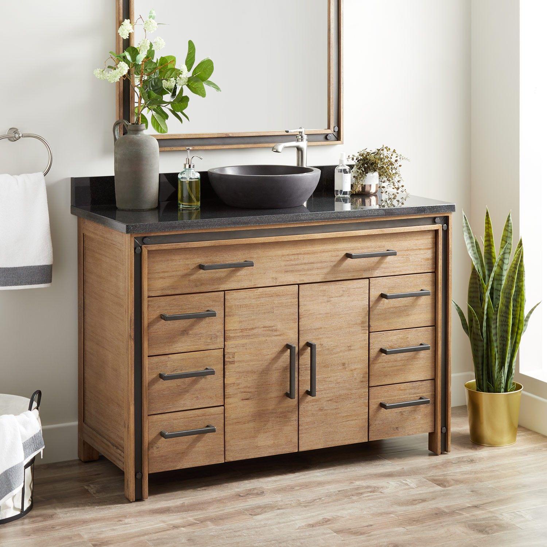 48 Celebration Vessel Sink Vanity Rustic Acacia Bathroom Vanities Bathroom Vessel Sink Vanity Vessel Sink Bathroom Vanity Vanity Sink
