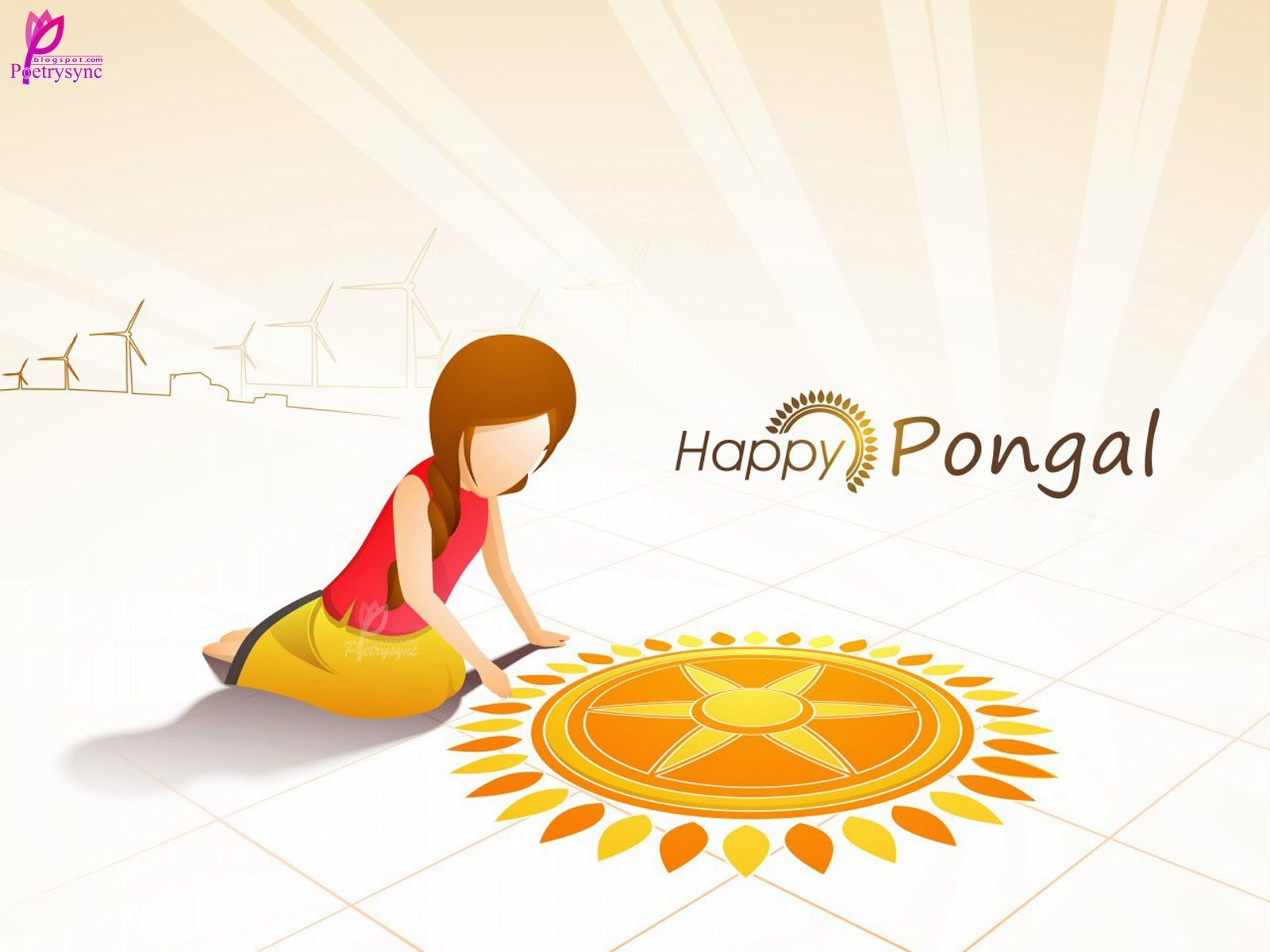 Beautiful Girl Rangoli Happy Pongal Festival Card For Pongal Wishes