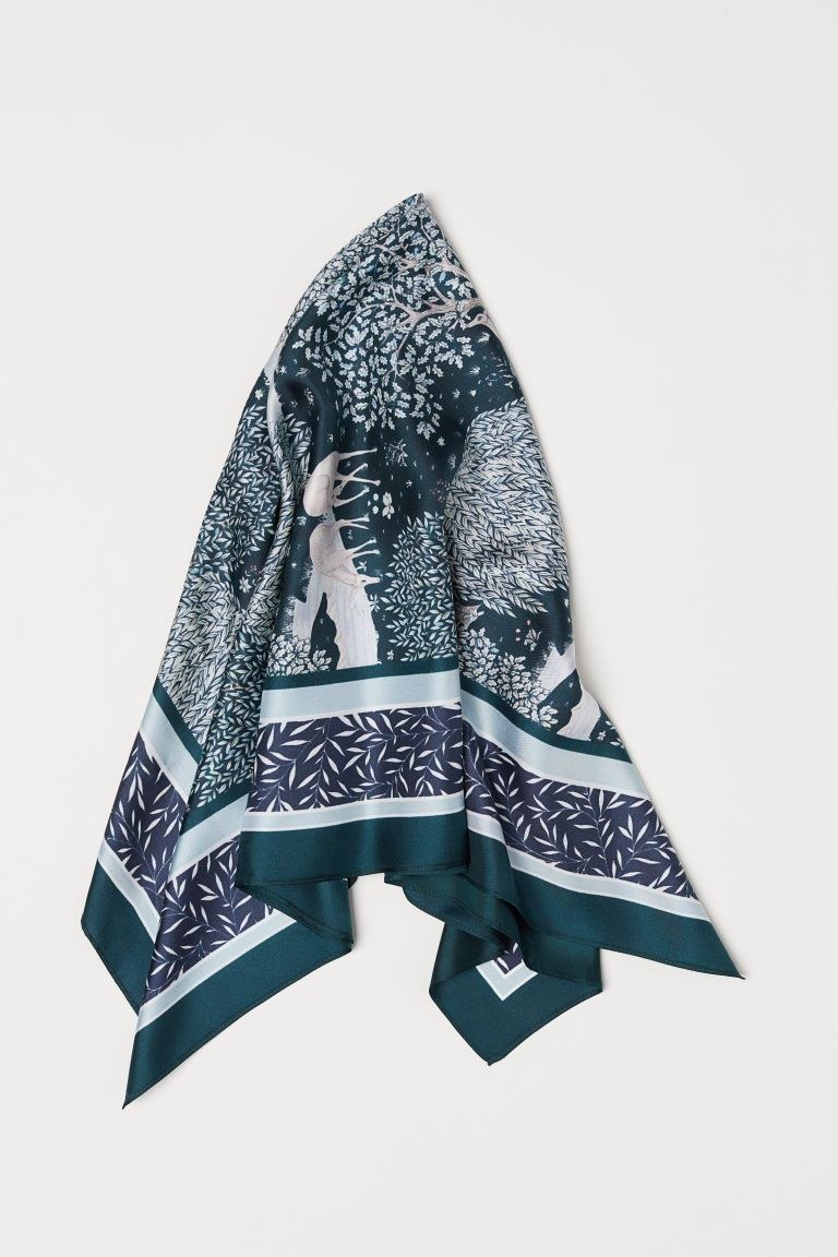 Delft H&m Foulard En Soie Wish List Silk Scarves H M Outfits Green Pattern