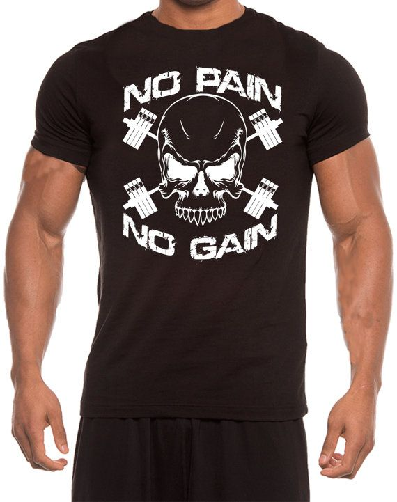 ac3ee997 No Pain No Gain Skull T-shirt GYM Training MMA by PrintBar on Etsy ...