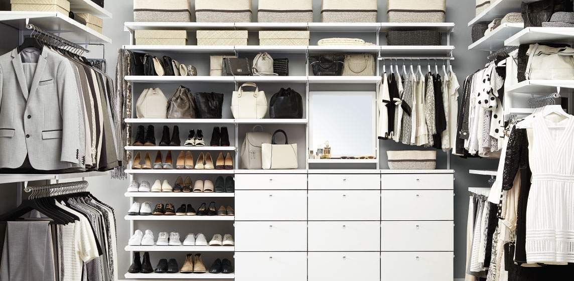 Container Store Closet System Elfa Closet System At Container Storewhite Elfa Décor His & Hers