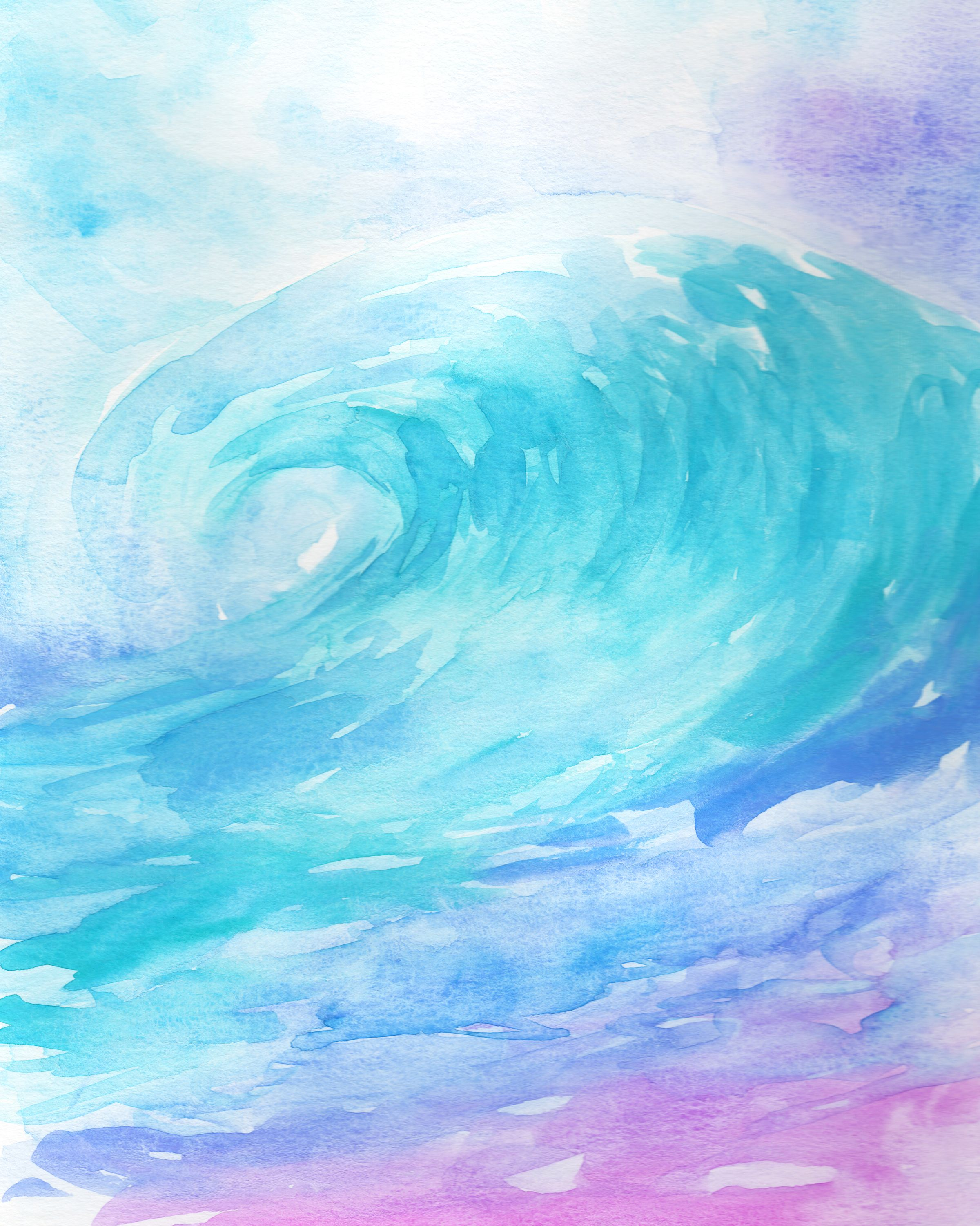 Ombre Wave Watercolor Wave Print Nursery Wall Art Printable