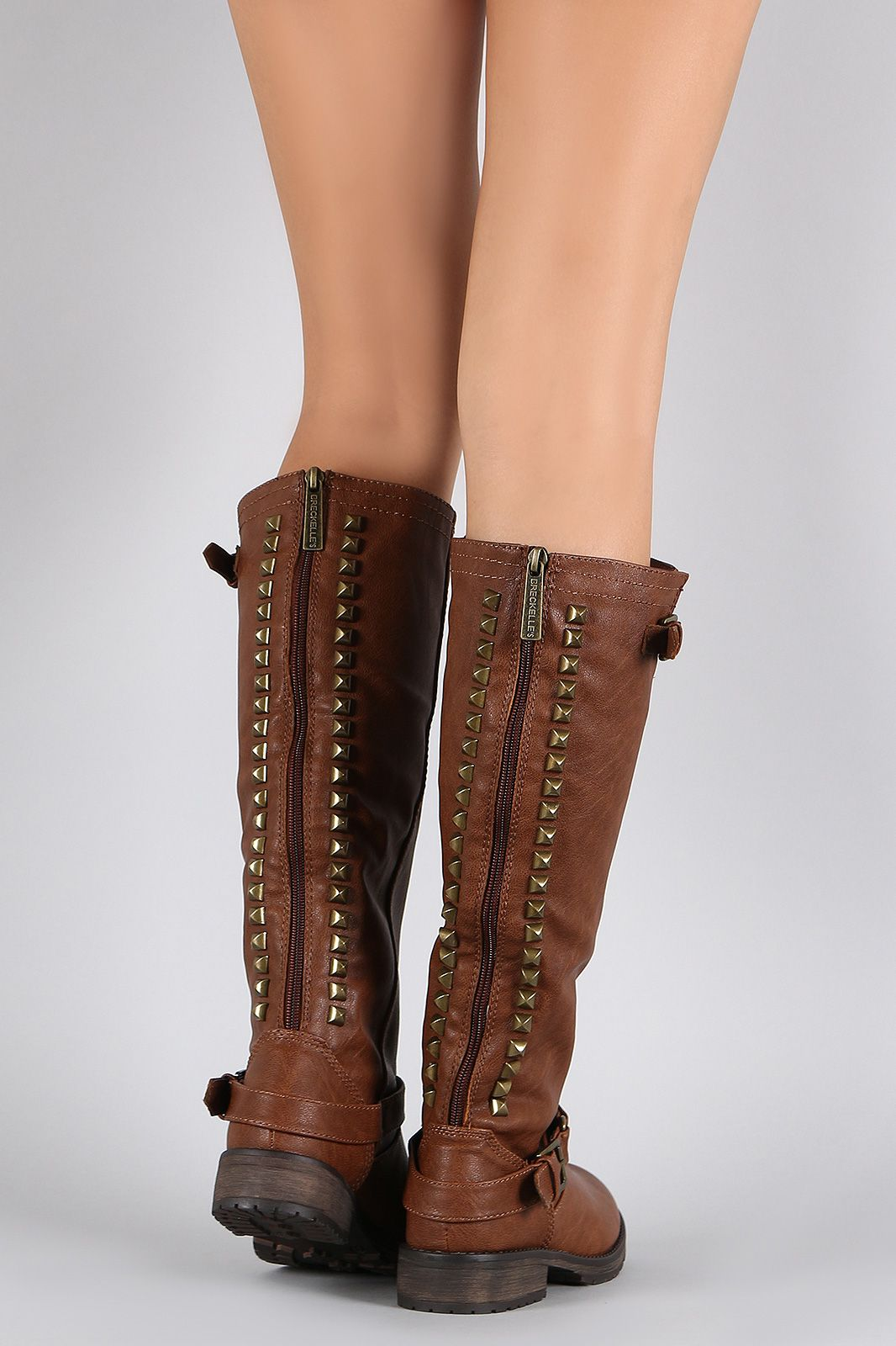67e1dba089b Studded Buckle Riding Knee High Boot. This knee high boot features a ...