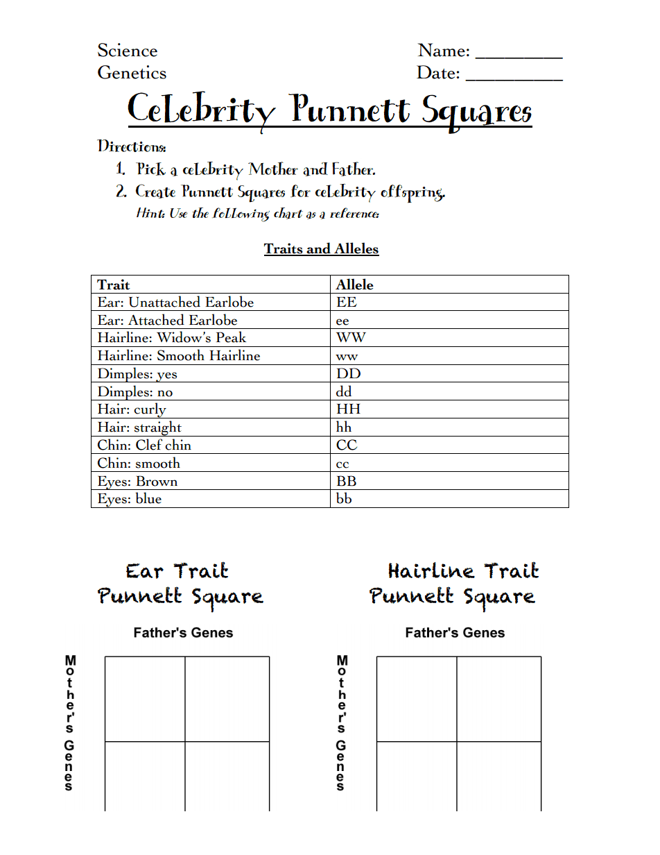 Celebrity Punnett Squares handout.pdf | Genetics | Pinterest | Pdf ...