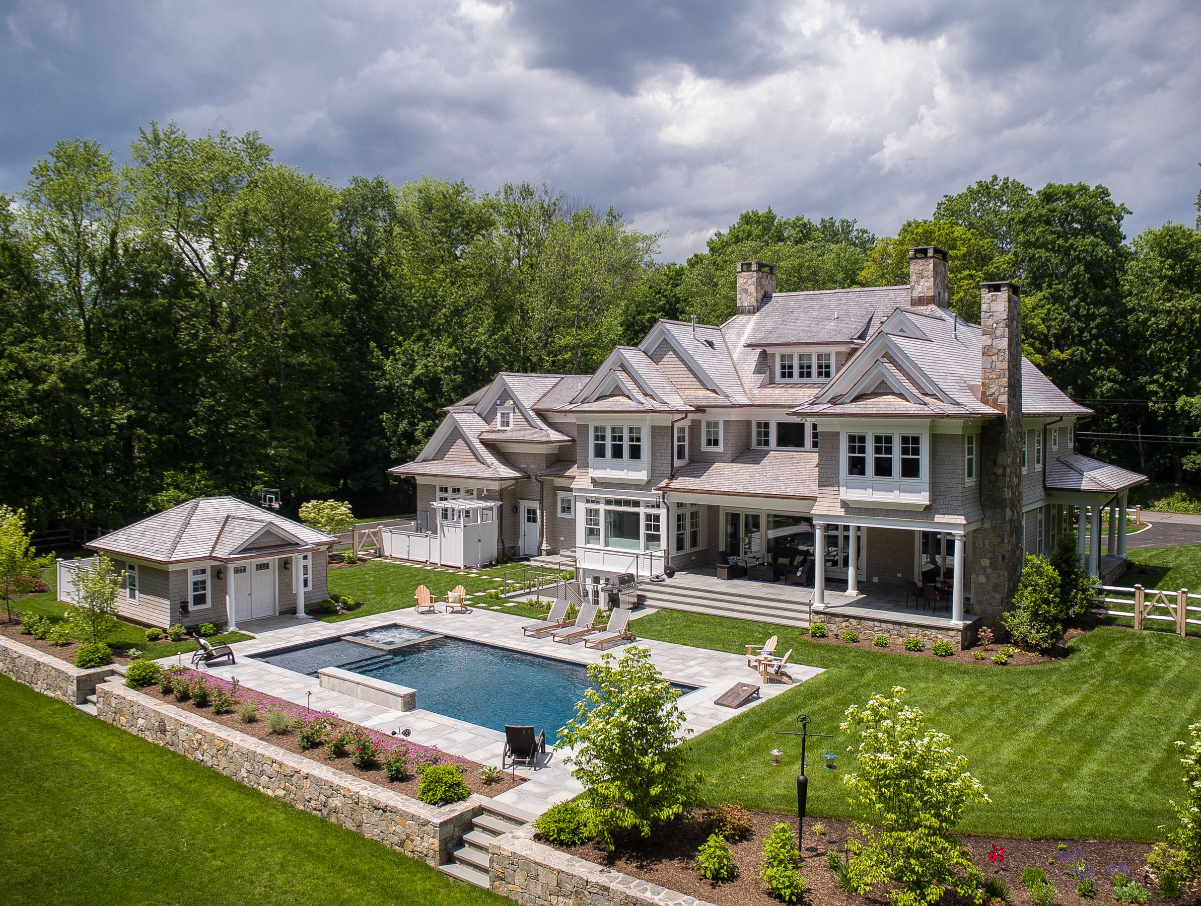 Shingle Style Colonial With Pool House Spa Pool Houses Shingle Style Homes Shingle Style