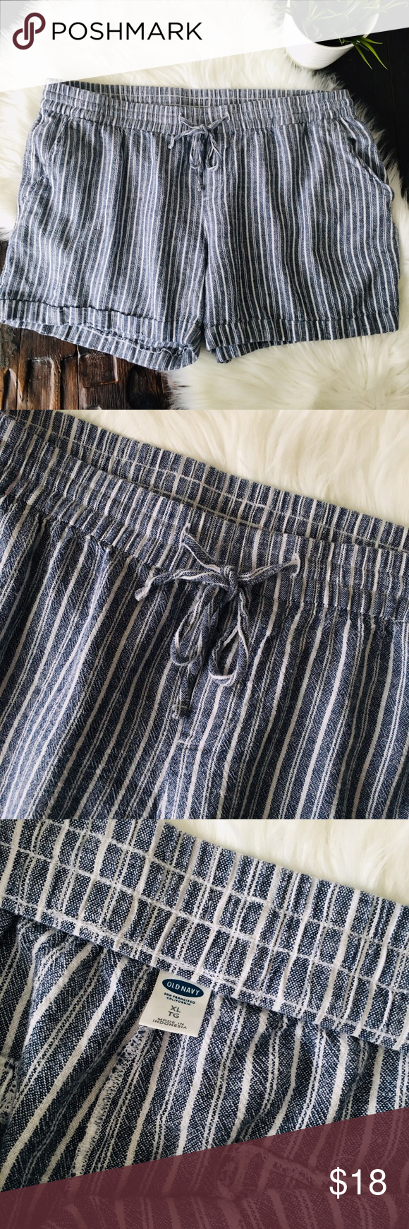 7f4726dd5af OLD NAVY Women s XL Linen Blend Striped Shorts EUC Excellent used condition  and from a smoke-free environment Old Navy women s size XL Elastic waist  with ...