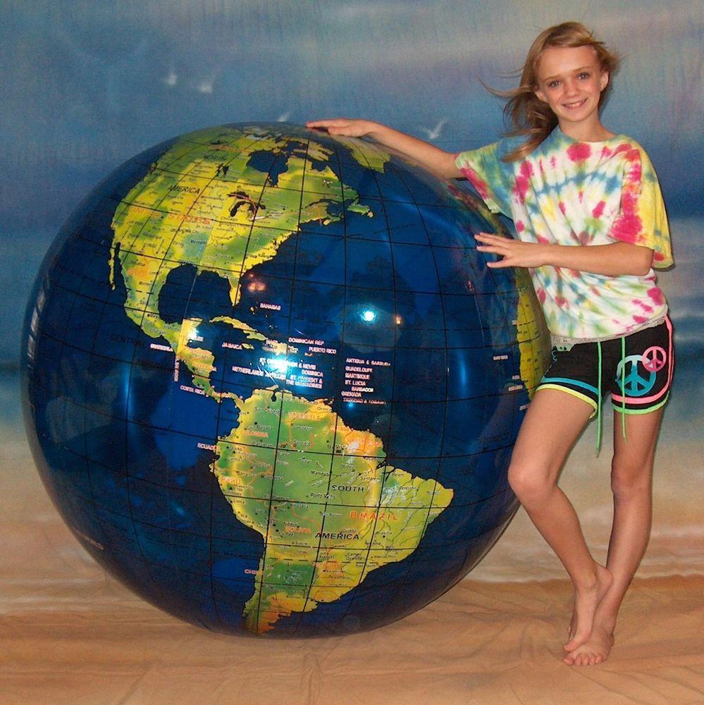 72 inflatable globe world beach ball earth map atlas transparent blue vinyl