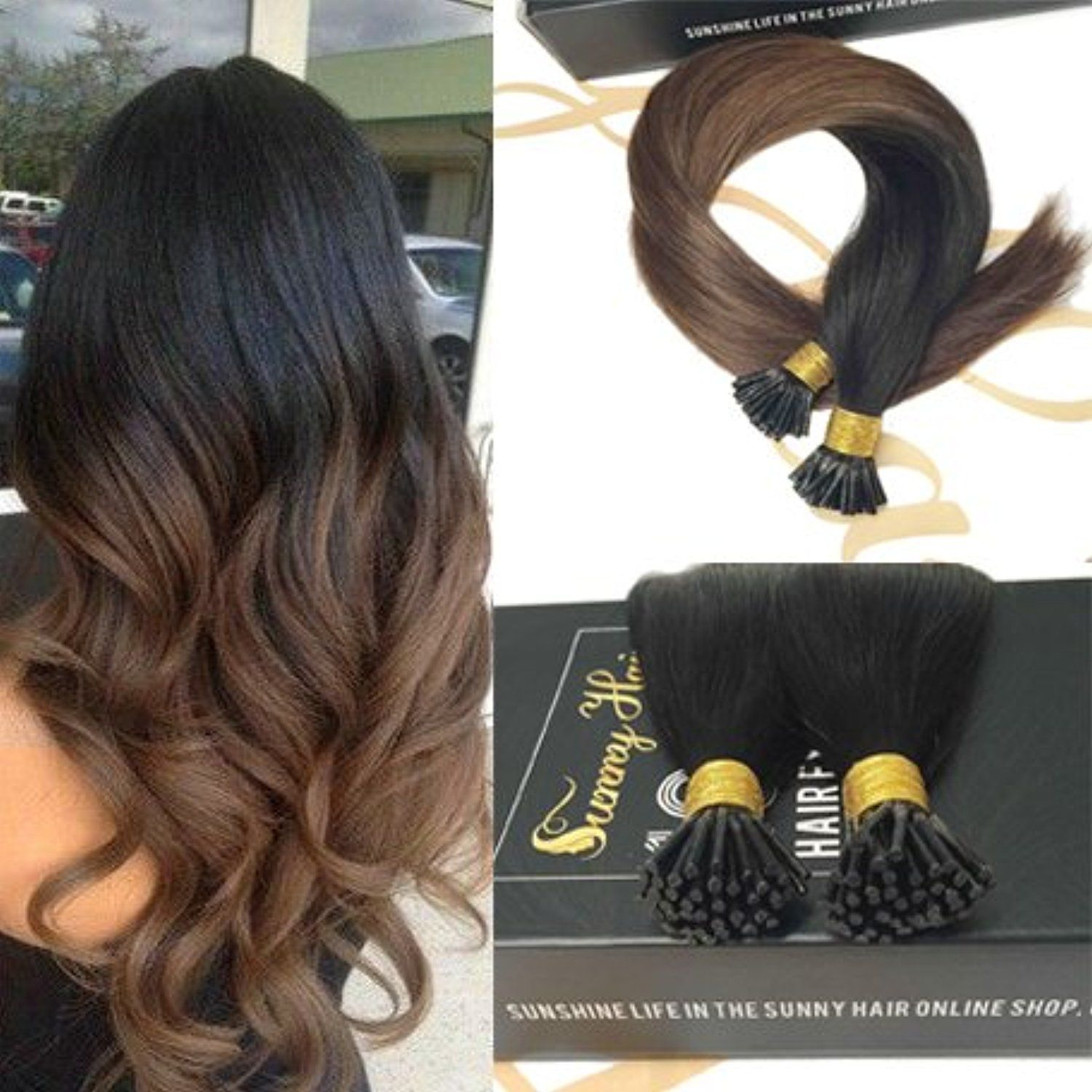 Sunny inch I Tip Remy Human Hair Extensions Ombre Color Natural