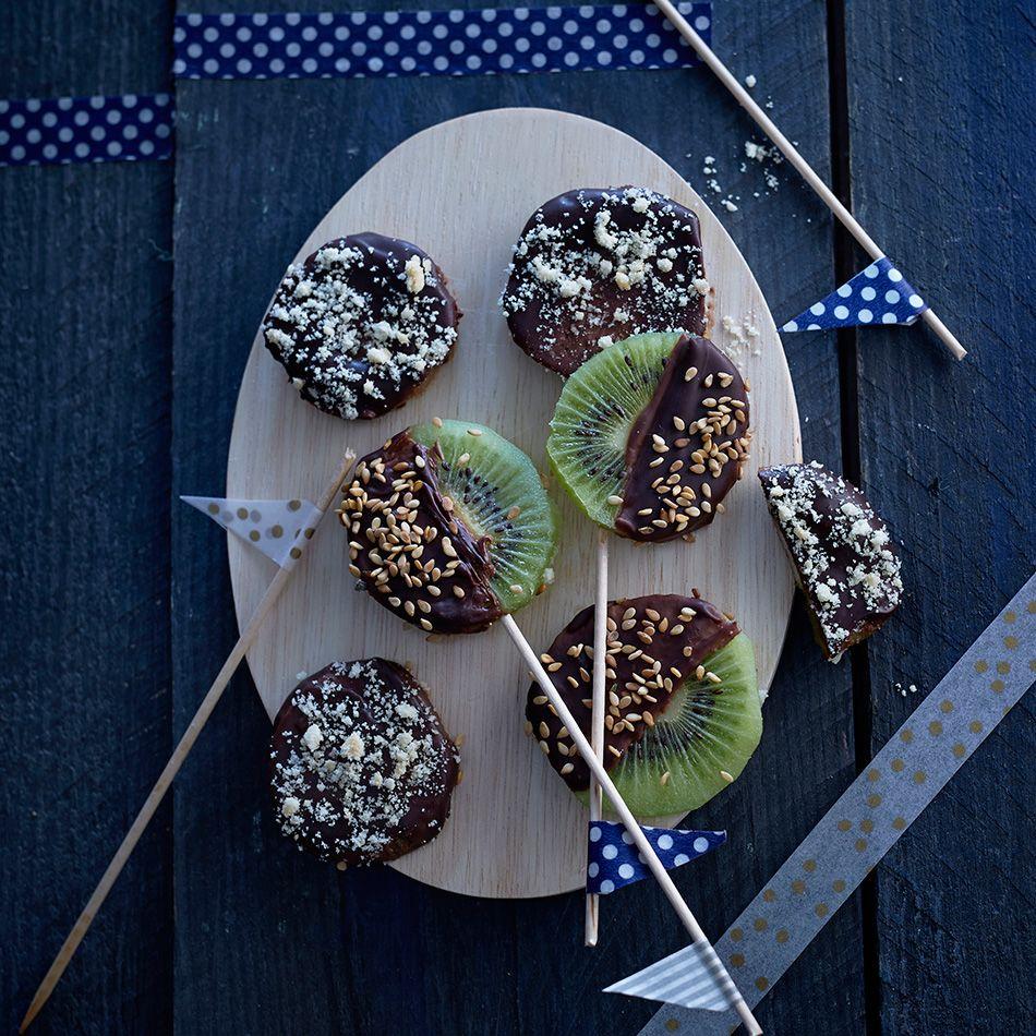 Sucettes kiwi chocolat