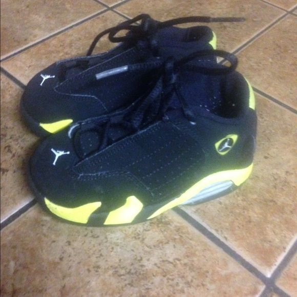 cheap for discount 0cddb 413e0 Toddler Yellow and black thunder 13s. Jordans Yellow and ...
