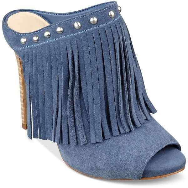 Guess Women's Ara Fringe Mules ($139) ❤ liked on Polyvore featuring shoes,  blue