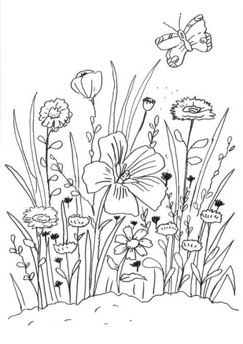 Blumen: Blumenwiese zum Ausmalen zum Ausmalen (mit Bildern ...