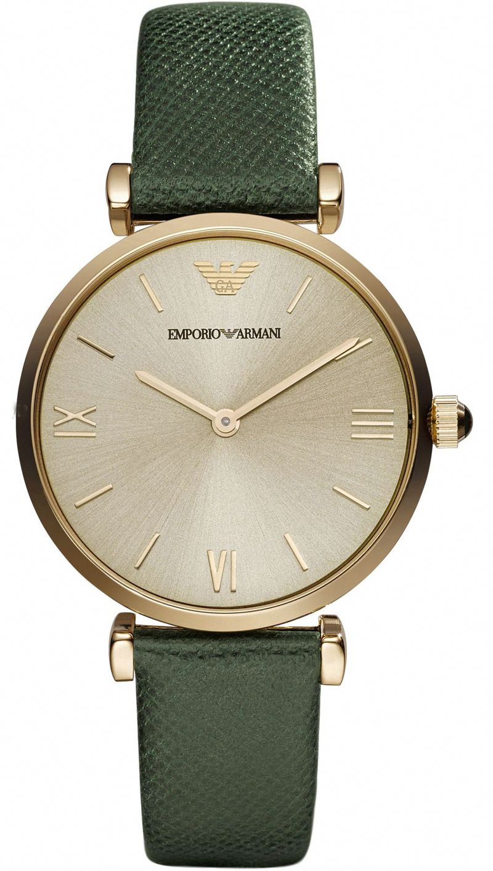 Emporio Armani Women Quartz Analog Green Leather Watch Ar1726