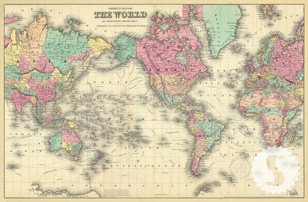 Colorful world map wall mural vintage maps swag and vintage description specs 1856 coltons map of the world swag papers vintage sciox Images
