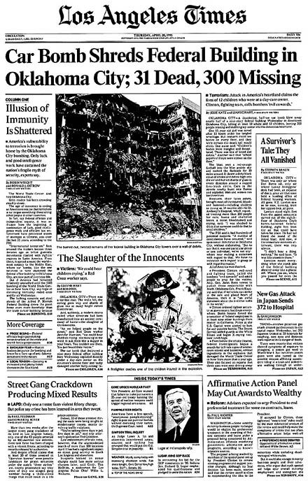 133 Years Of The Los Angeles Times Historical Newspaper The Times Front Page Oklahoma City Bombing