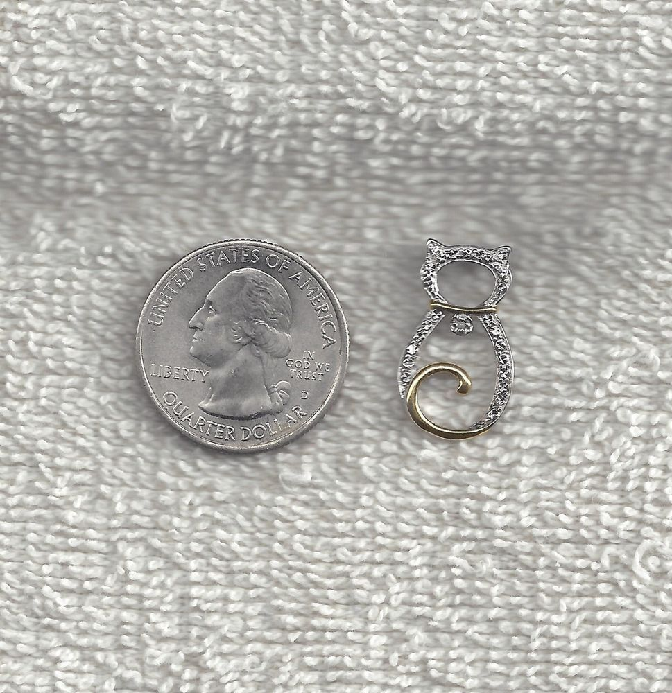 Lovely Sterling Silver Marked JCM .925 With Gold Accents Cat Pendant Charm