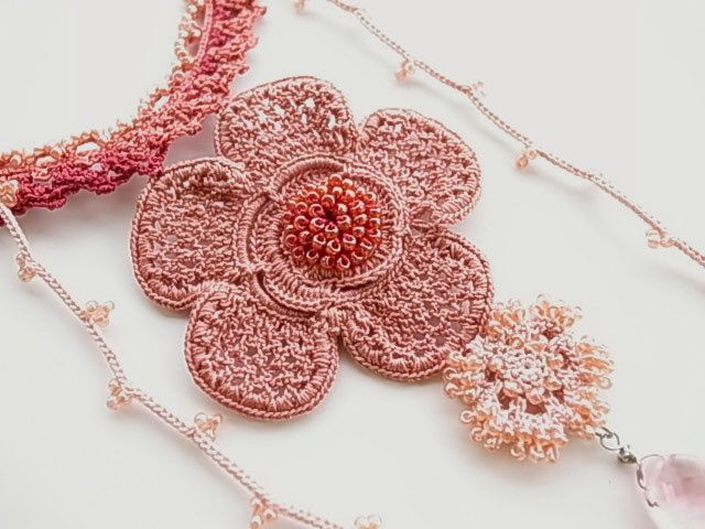 60dd188a3c8e0 Irish Crochet Lace Jewelry (Beryl Love II) Crochet Necklace,Fiber ...