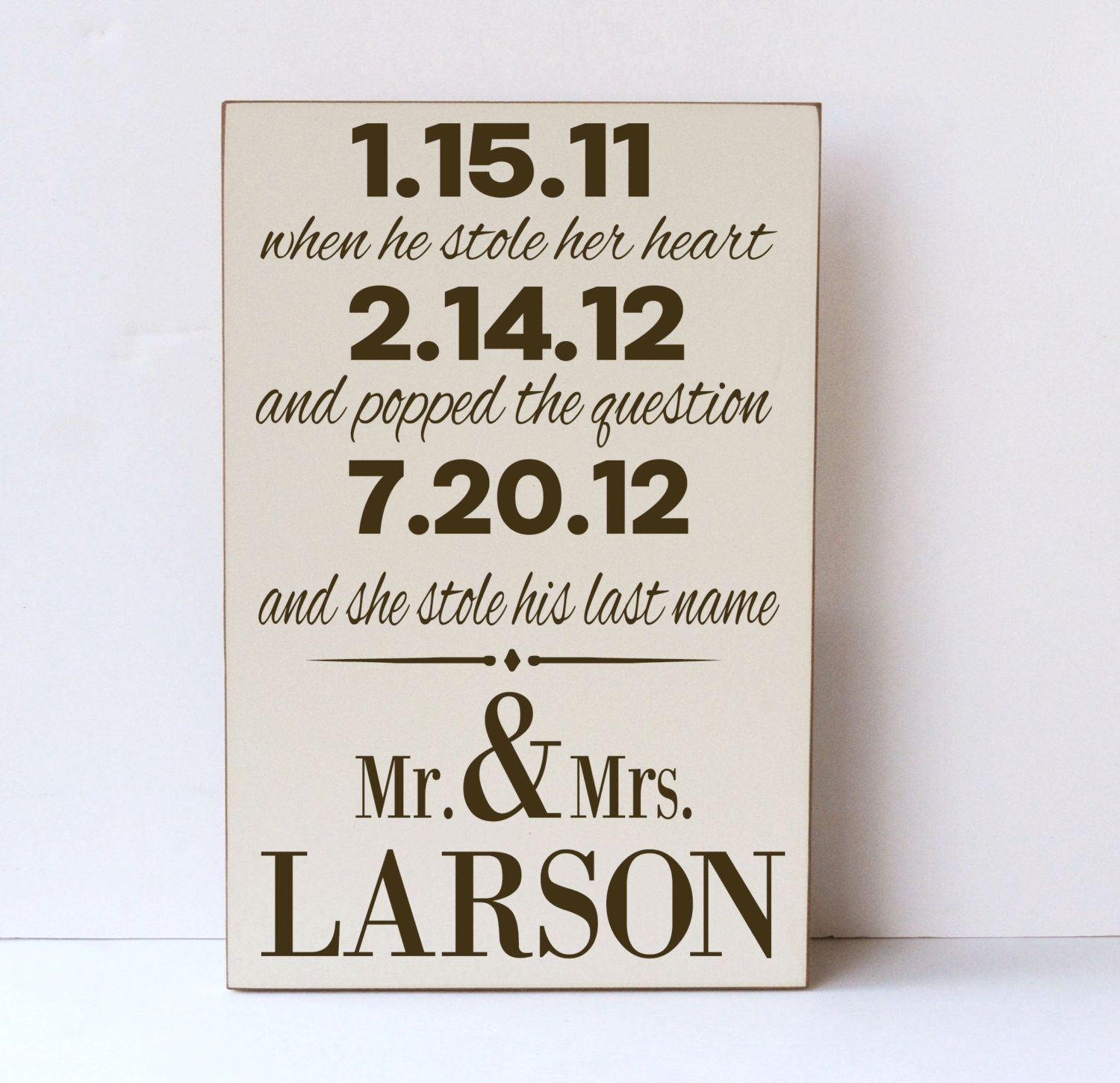 Last Name Wedding Themes: Mr. And Mrs. She Stole His Last Name Wooden Sign By