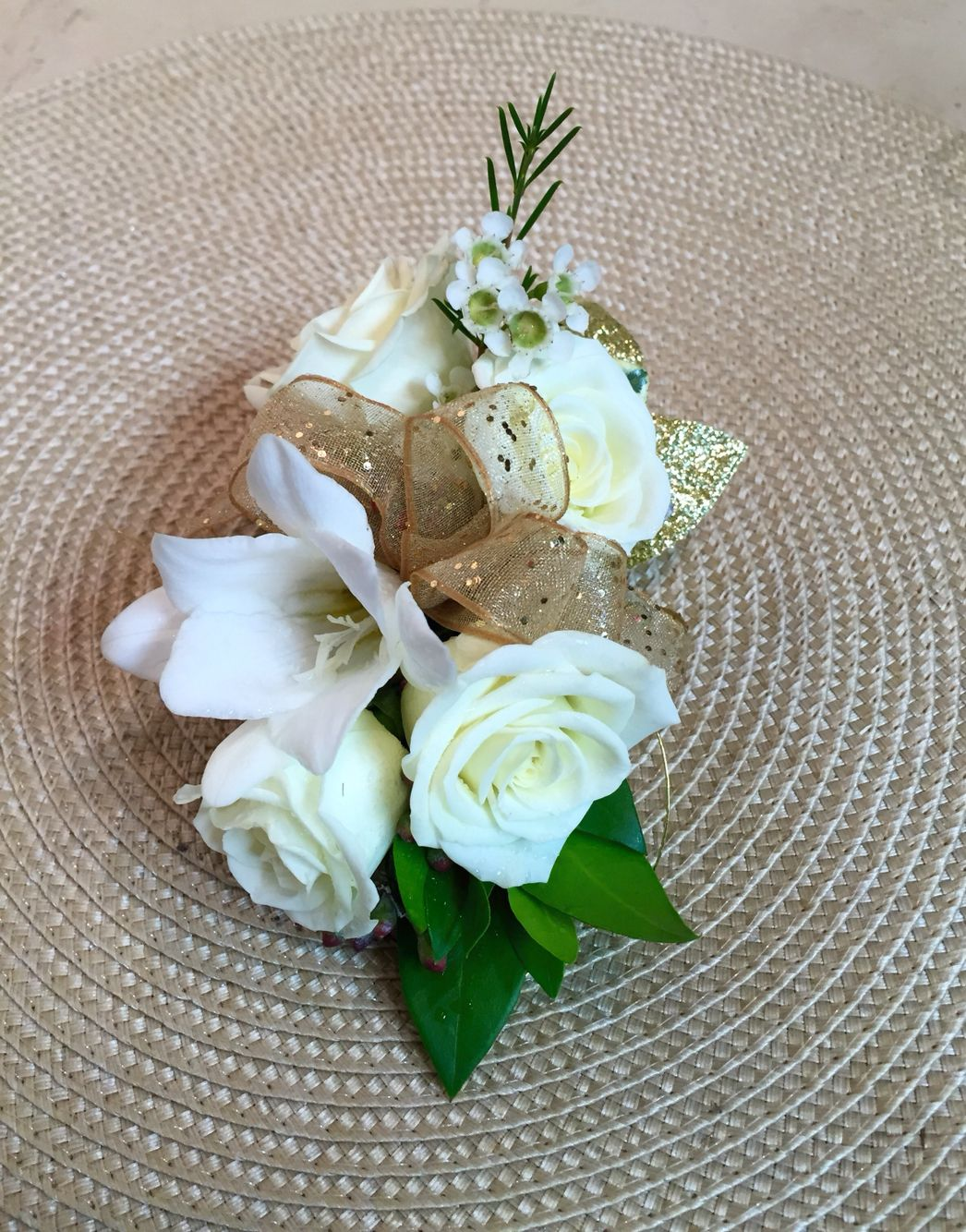 Corsage With White Spray Roses White Orchids White Wax Flower