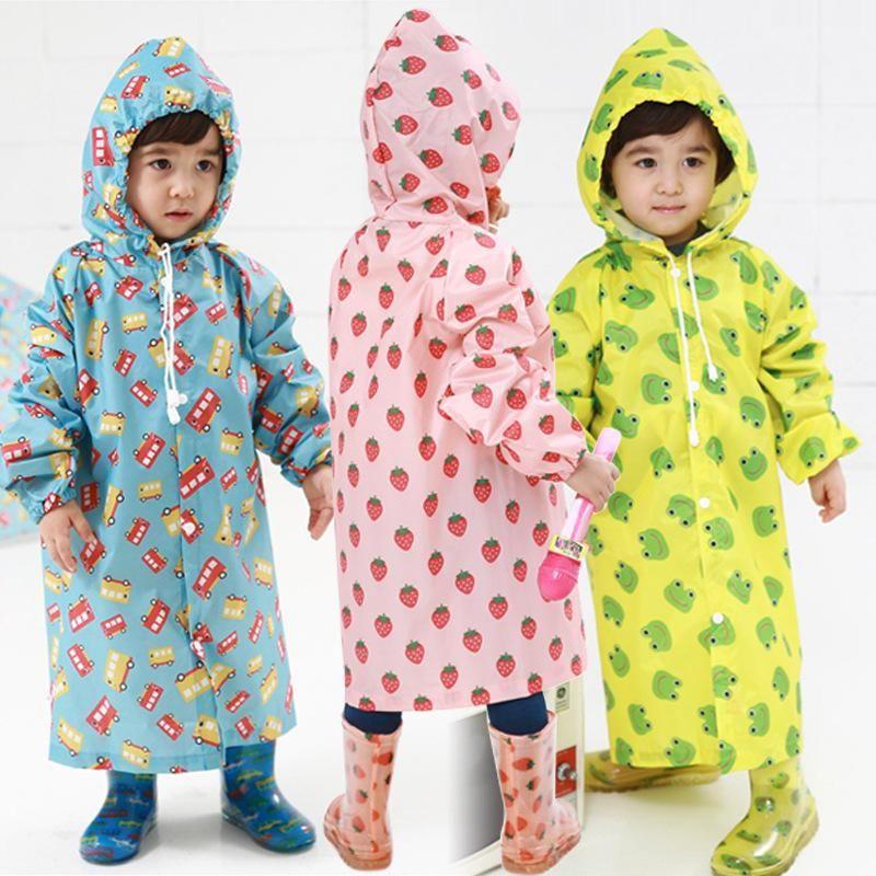 Baby Kids Boys Girls Hooded Raincoat Cape Rainwear Jacket Waterproof Outdoor