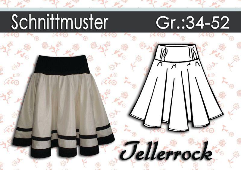 Schnittmuster & Nähanleitung Tellerrock Gr:34-52 von Schnipp-Schnapp ...