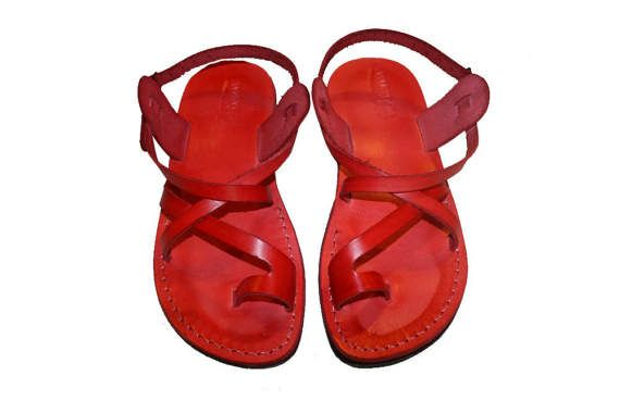 5059dc2a7 Red Roxy Leather Sandals For Men   Women - Handmade Sandals