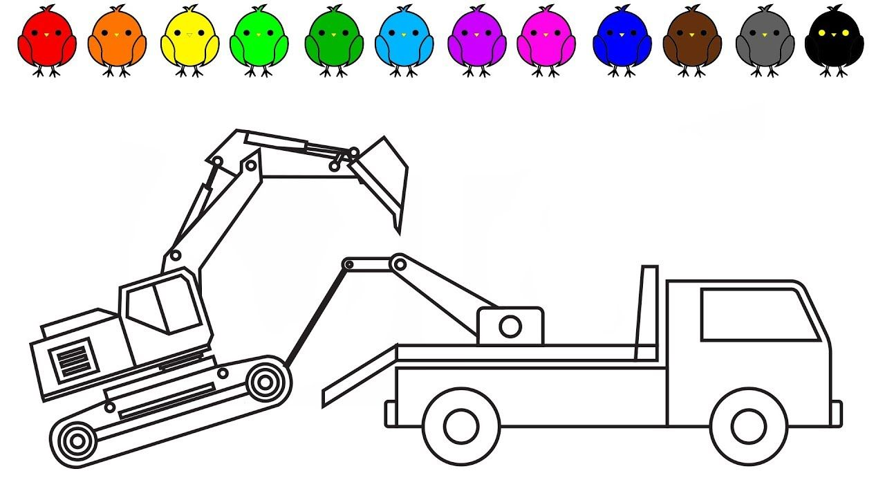 Learn Colors With Tow Truck And Excavator Coloring Pages