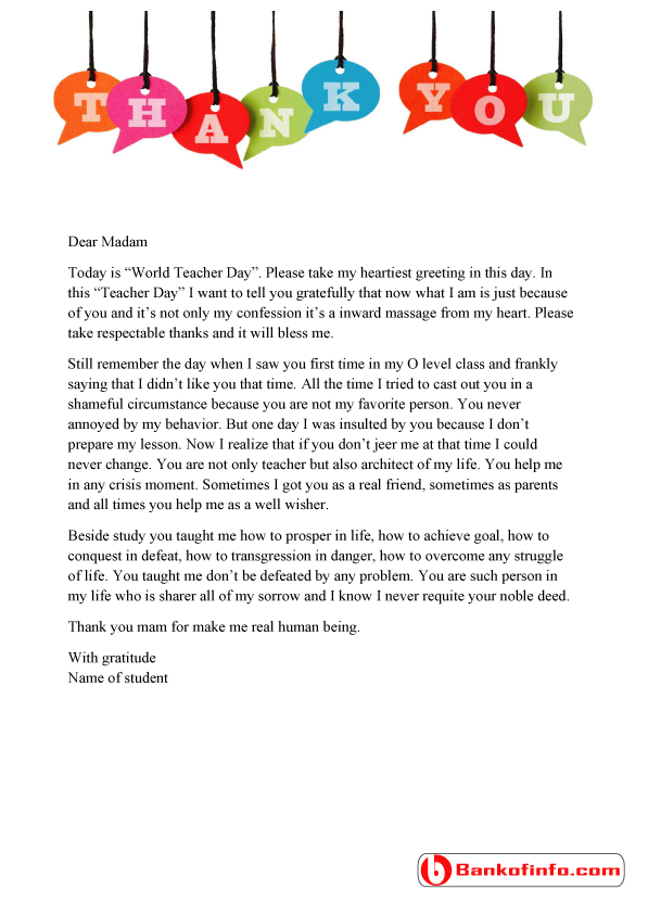 A sample thank you letter to teacher from student for the occasion how to write an appreciation letter to a teacher sample thank you letter to teacher from student expocarfo