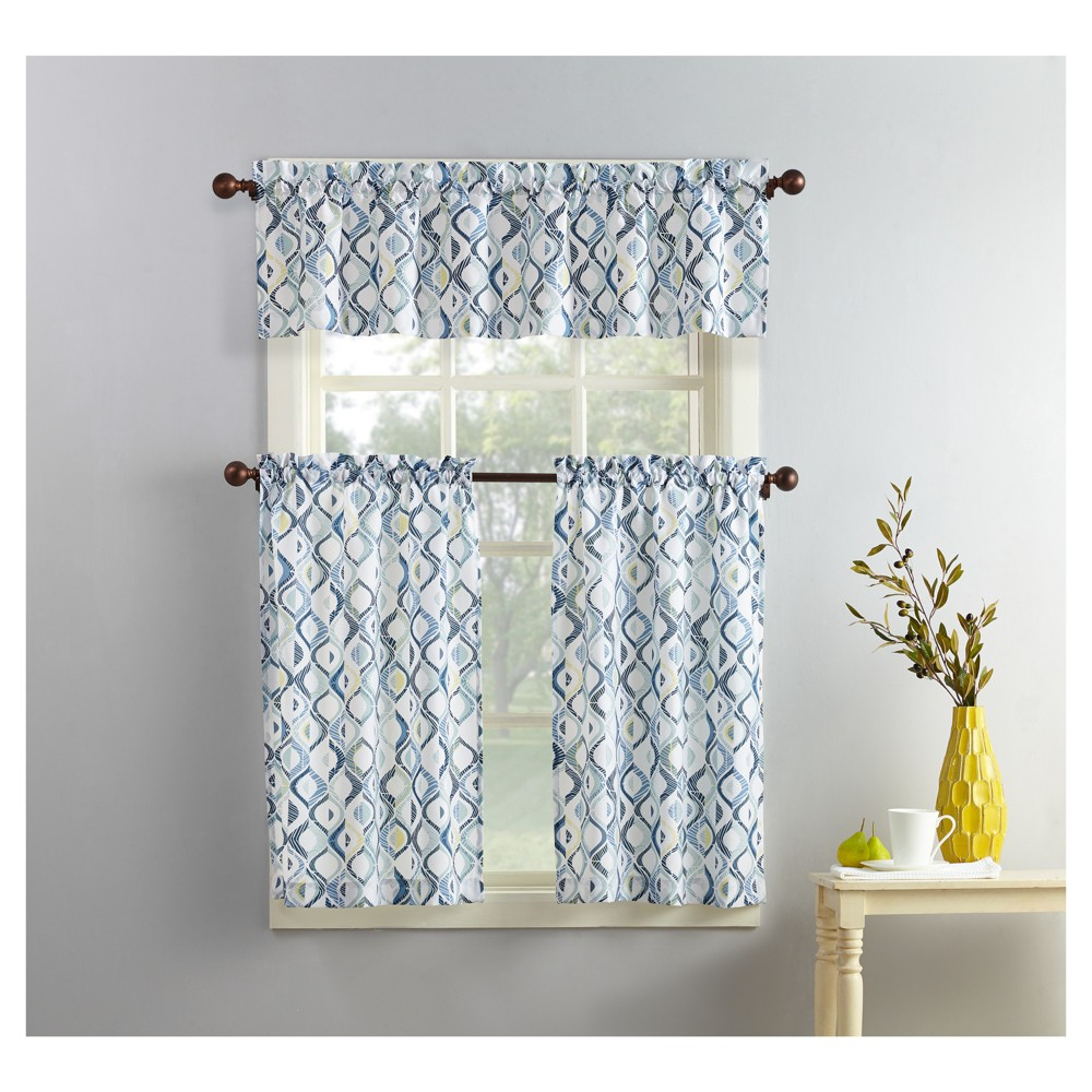 Barker Geometric Print Microfiber 3 Piece Kitchen Curtain Valance