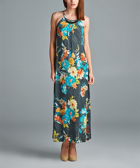 Mlle Gabrielle Gray & Mint Floral Maxi Dress | zulily