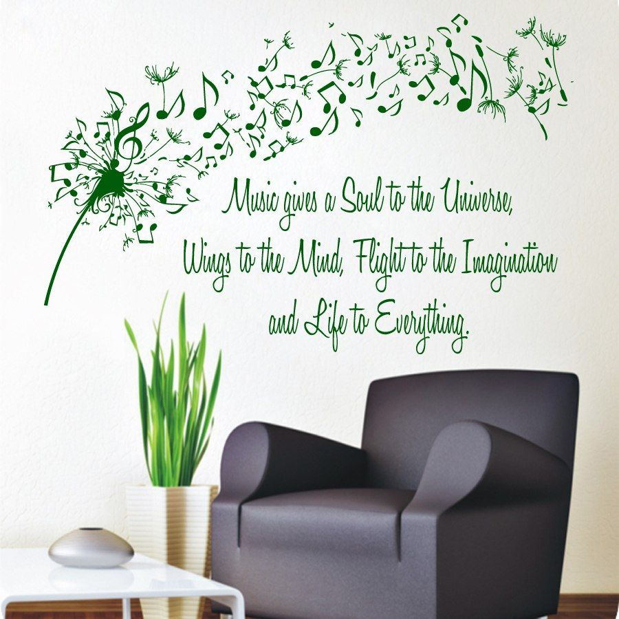 Dandelion wall decals quote music gives a soul to the universe dandelion wall decals quote music gives a soul to the universe vinyl decal sticker flower interior amipublicfo Images