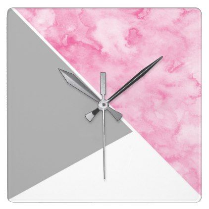 Pink Gray White Modern Square Wall Clock Zazzle Com Square Wall Clock Decor Modern Square Wall Clock Modern