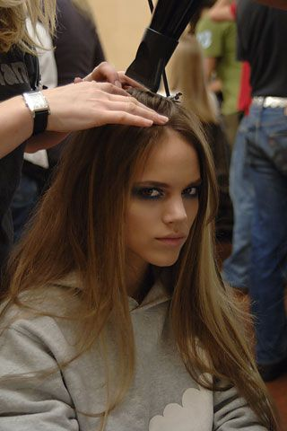 Freja Beha Erichsen backstage at Versace Fall 2006 Ready-to-Wear