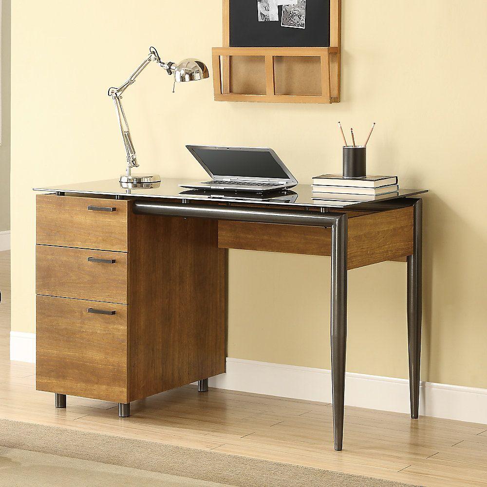 Whalen Gramercy Single Pedestal Glass Top Desk 30 H X 47