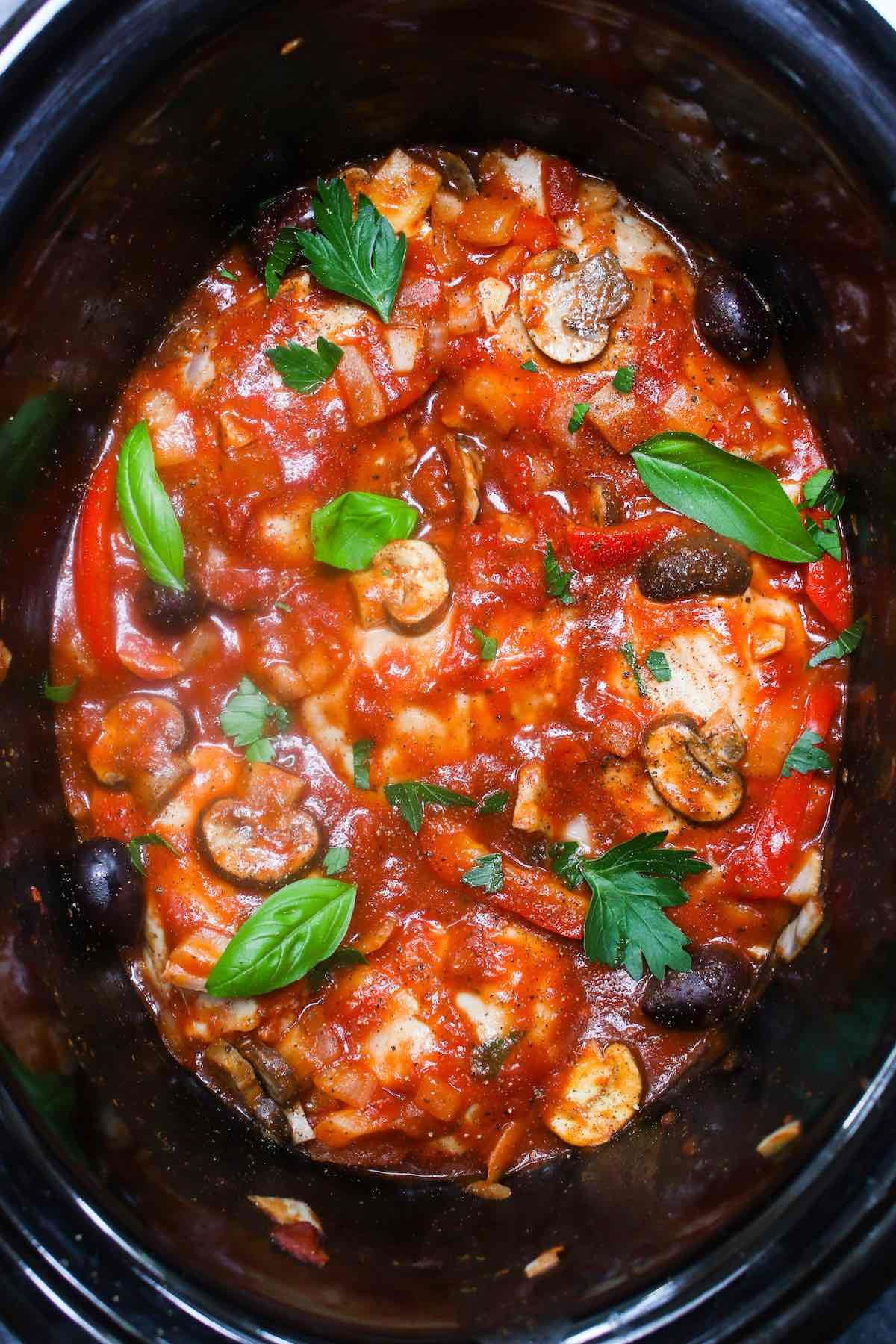 This easy and healthy Crock Pot Chicken Cacciatore is a ...